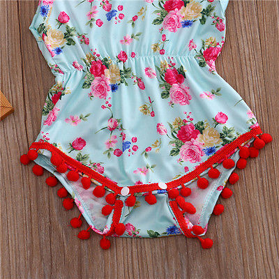7fa66e7f53a Fashion Newborn Baby Girl Clothing Set Floral Tassel Romper Jumpsuit  +bow-knot Headband Outfit