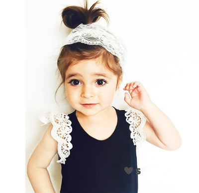 Kids 5 Color Baby Girls Summer Casual Lace Patchwork Short Sleeve Cotton T-shirt Tops Clothes Age 0-4Y