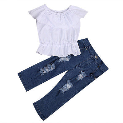 Kid Baby Girl Clothing White Crop Tops Tank Top T-shirt Clothes+Jeans Pants Outfit