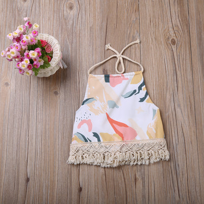 Fashion Summer Infant Toddler Kids Baby Girl Tassel Halter Clothes Lace Backless T-shirt Tops