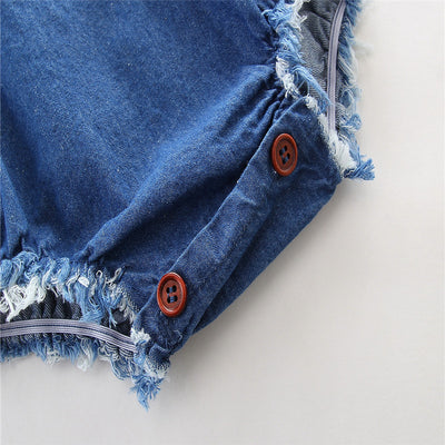 Summer Newborn Infant Baby Denim Cotton Romper Backless Jumpsuit Clothes Outfits 0-24M