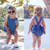 Summer born Infant Baby Denim Cotton Romper Backless Jumpsuit Clothes Outfits 0-24M