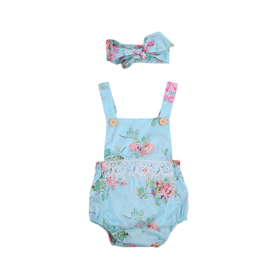 2Pcs/Set Infant Girl Newborn Floral Lace Romper Clothes Backless Jumpsuit Sun-suit Clothing With Head band 0-24M