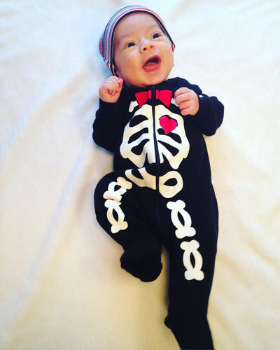 Newborn Baby Girl Boys Skeleton Long Sleeve Romper Cotton zipper Jumpsuit Outfits Halloween Costume