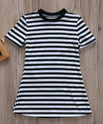 Summer Newborn Baby Kids Girl Princess Dress Casual Party Striped Short Sleeve Dresses Clothes