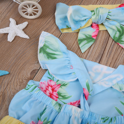 Summer Baby Girl Floral Back Cross Dress Headband Kid Party Pageant Formal Dresses Sundress Clothes