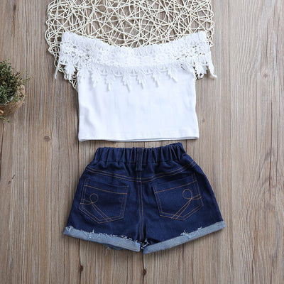 Kid Girls Clothing Pure White Lace T shirt + Denim shorts Cotton Clothing Outfit