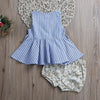 kids baby girls Clothing Set Sleeveless Button Striped Dress + Triangle shorts Infant Cotton Clothes Sun suit Outfits
