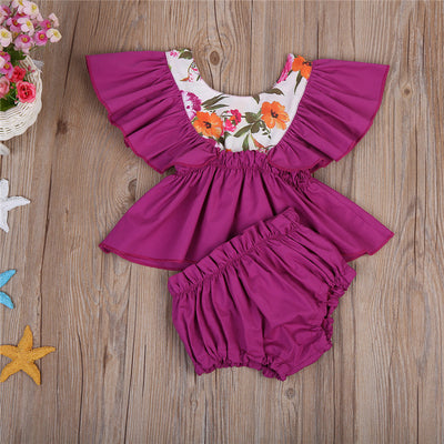 2Pcs/Set Newborn Baby Girl Floral Flying Sleeve Shirt + Briefs Shorts Outfits Set Clothes Summer Sun-suit
