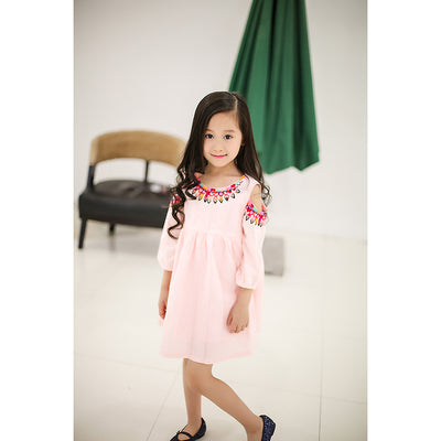 Girls Dress With Leakage Top fashion Party and Princess Kids Toddler Dresses Children Clothing