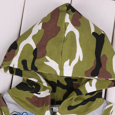 2pcs Toddler Baby Boy Clothing Set Camouflage Vest Hooded Tops+Shorts Outfits Hooded Clothes Set