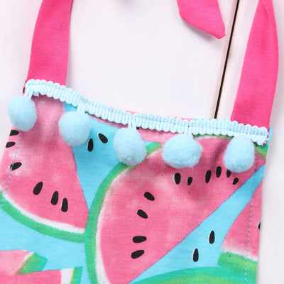 Summer Adorable Newborn Baby Girls Watermelon Lace Belt Romper Backless Jumpsuit Summer Clothes Sunsuit