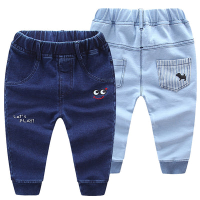 New fashion kids baby pants denim jeans boys girls cartoon dog pants cotton Capri boys girls pants