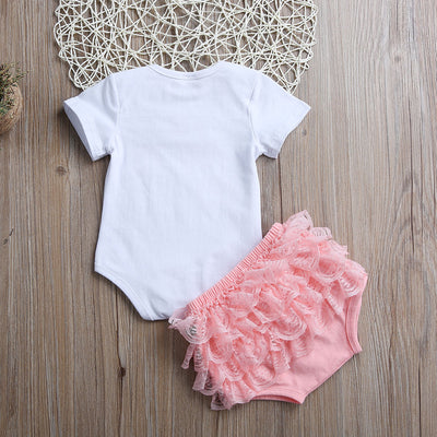 2Pcs Toddler Newborn Baby Girls Clothes Short Sleeve Letter Printed Romper +Lace Triangle shorts Outfit 0-3T