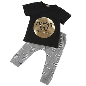 2Pcs born Toddler Baby boys girls Infant Clothes Golden Letter Mamas Boys Printed Outfit Clothing Sets 0-24M