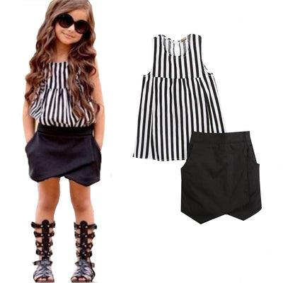 Baby Kids Girls Summer Clothes Sleeveless Striped Tops Blouse+Asymmetric Shorts 2 pcs