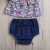 2pcs Kid Newborn Toddler Baby Girls Clothing Set Off Shoulder Floral Tops + Hollow Out Triangle shorts Outfits Set Clothes