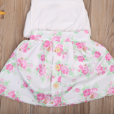 3Pcs Toddler Kid Baby Girls Clothing Set Backless Romper+Floral Skirt Headband Outfit Sun-suit 0-2T