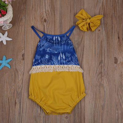Newborn Baby Girl Clothes Tassel Backless Romper Patchwork Jumpsuit Sun suit