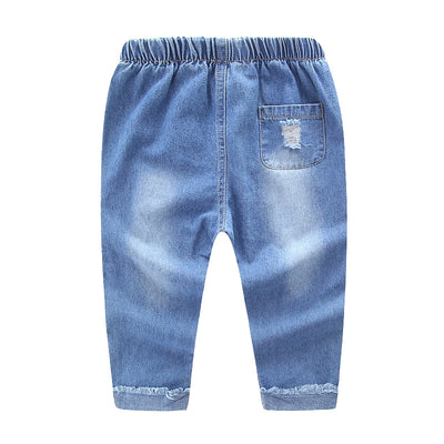 Kids full length pants trousers baby boys girls jeans boys ripped denim hole jeans children's pants