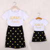 Mother daughter matching clothes sets kids Letter short sleeves T-shirt+skirts family look clothing Outfits