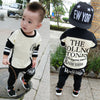 Baby Boy Girl Clothing Set Infant Soft Cotton Long Sleeve Kids Clothes Letters Printed Sport Top+Pants Clothes