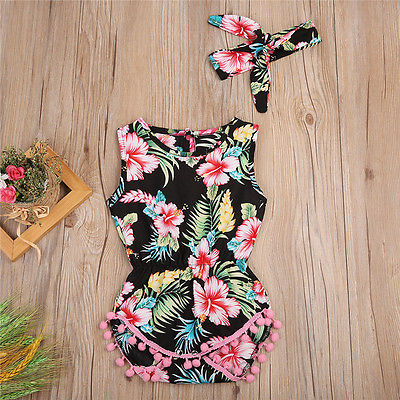 2Pcs/Set Cute Newborn Baby Girl Floral Tassels Ball Romper + Headband Neck Button Jumpsuit Outfit Sun-suit