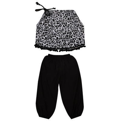 2pcs Toddler Newborn Baby Girls Sleeveless Halter Tassel Leopard Tops+ Black Pants Outfits Set Clothes