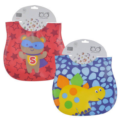 Mother Nest 2 Pcs Waterproof Baby Bibs Cute Cartoon Baby Feeding Fashion Baby Bibs for Lunch