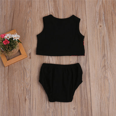 Summer Newborn Infant Baby Girls Red Lips Top Sleeveless Tank Top + Shorts Brief Outfits Clothes 6M-3T