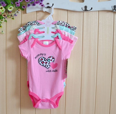 5pcs/lot Baby Bodysuits For Unisex Clothing With Cartoon Boy girls short Sleeve Jumpsuits Infant Baby Clothes