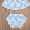 2PCS Baby Kids Girls Summer Outfits Floral Off Shoulder Top + Tassel triangular shorts Clothes Set