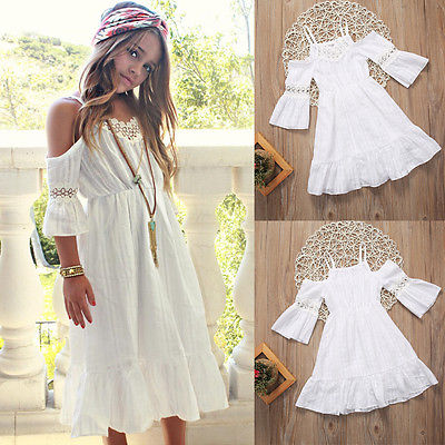 6b8a30f1d Cute Girl Kids Princess Vintage Lace Off Shoulder Dress White Short Sleeve  Strap Wedding Party Pageant