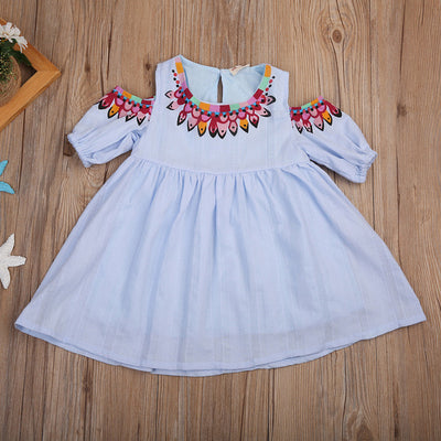 Infant Baby Girls Summer Off Shoulder Dress Beach Sundress Party Bow knot Dress