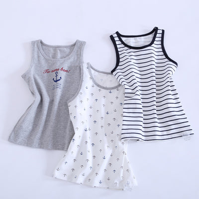 Children vest Baby children boys tanks t-shirt Cotton tank sleeveless kids cartoon beach clothes