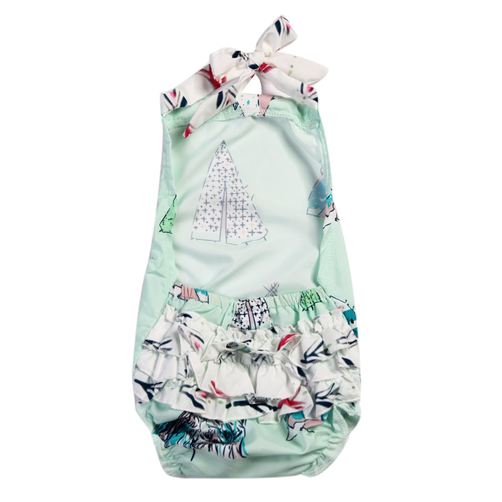 b63d793e67c9 Newborn Baby Girl Romper Clothes Summer Sleeveless Backless Jumpsuit Green  Striped Christmas Outfits Sun suit