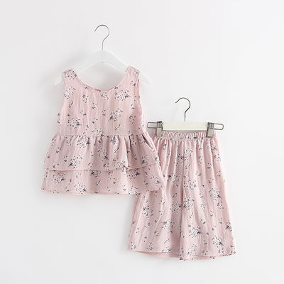 Girl sleeveless Clothes Girl Clothing Sets Kids Clothes Cartoon Children Clothing flower Tops+Shorts Clothing