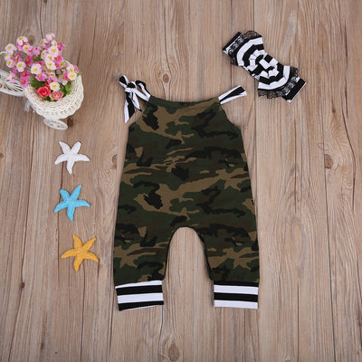 Infant Baby Girl Boys Clothes Summer Camouflage Romper Tassel Off Shoulder Jumpsuit Headband Sun suit Clothing
