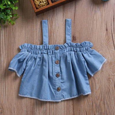 New Fashion Toddler Kids Baby Girl Clothes Denim Off Shoulder Tops Outfits Children Clothing