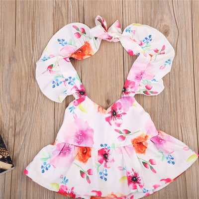 2pcs Cute Toddler Infant Baby Girls Flower Halter Tops+ Floral triangular shorts Outfit Kid Clothes