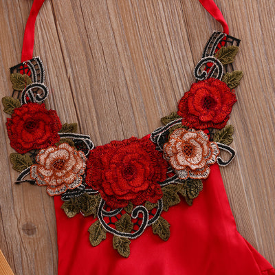 Summer Newborn Baby Girl Belt Hanging neck 3D rose flowers Romper Sleeveless Belt Jumpsuit Sunsuit Clothes