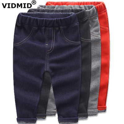Children Jeans Boys girls Denim trousers Baby Girl thick pants kids clothing baby boy thick fleece for winter