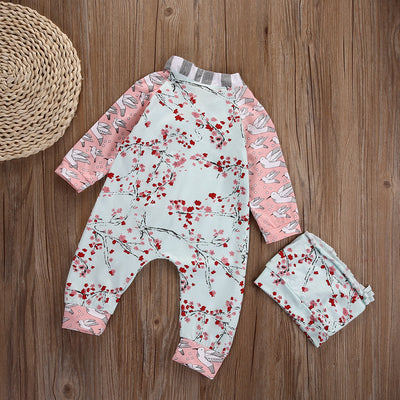 2pcs suit baby Girls clothes newborn Adorable Baby Girls Floral Long Sleeve Romper+Hat One Piece Jumpsuit Home Outfits Set