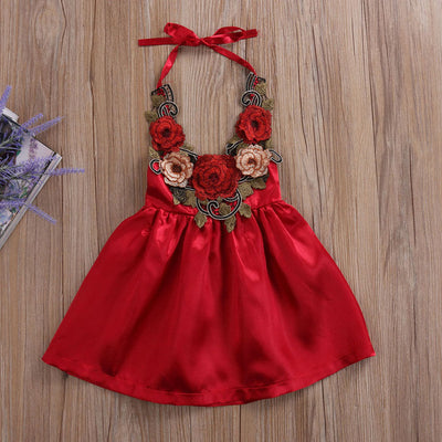 Summer Toddler Kids Baby Girls 3D rose Flower Party Sundress Formal Dress Dresses Lace Halter Backless Dress Clothes 0-5T