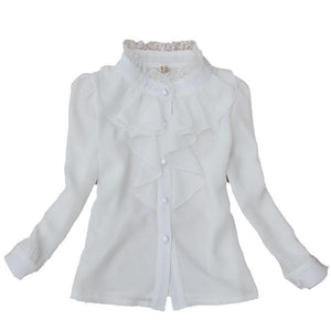 Peter pan collar long-sleeve lace shirt