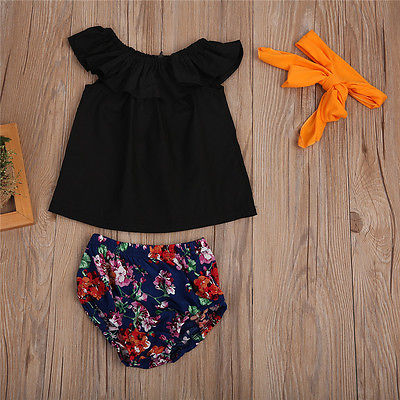 3pcs Toddler Kids Baby Girls Clothing Set Black T shirt Tops+Floral +Floral triangular shorts +Headband Outfits Clothes