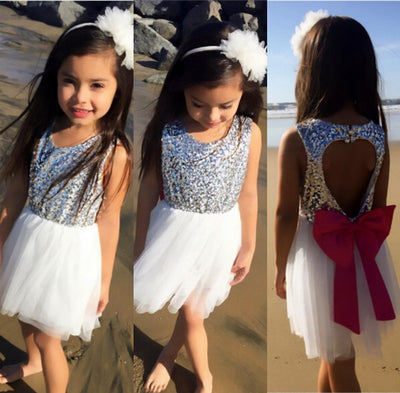 Baby Girls Party Dress Princess Kids White Backless Love Heart Bow knot Tulle Dress