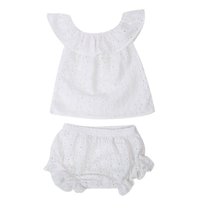 Summer Infant Toddler Kids Baby Girl Sleeveless Crochet Dress Top + Triangle shorts 2PCS Outfit Clothes Set