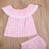 2PCS born Infant Baby Girls Pink Plaid Outfit Clothes Lace Lotus collar Top + Plaid triangular shorts 2Pcs Sunsuit Clothing