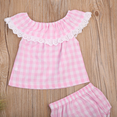 2PCS Newborn Infant Baby Girls Pink Plaid Outfit Clothes Lace Lotus collar Top + Plaid triangular shorts 2Pcs Sunsuit Clothing
